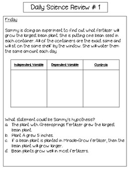 Daily Science Fifth Grade SOL Review