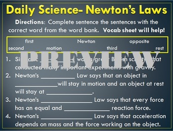 Daily Science- Forces- Newton's Laws (3 Daily Sciences)