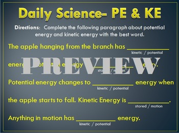 Daily Science- Forces- Potential and Kinetic Energy