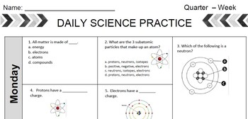 Daily Science Homework Sheets- Chemistry Unit