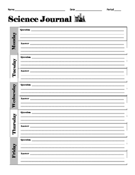 Daily Science Journal Bellwork Template