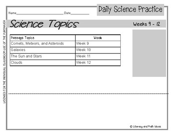 Daily Science Practice (Grade 5:  November Full Month)