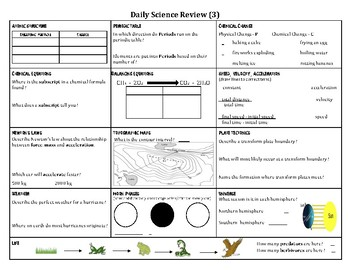 8th Grade Science Bell Ringer Worksheets & Teaching Resources | TpT