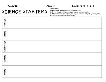 Daily Science Starters/Bell Ringer Template