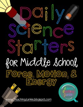 Daily Science Starters for Middle School - Force, Motion, and Energy