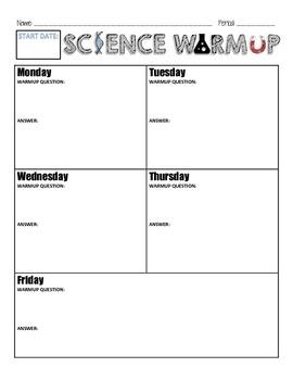 Daily Science Warmup Sheet