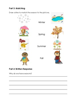 Daily & Seasonal Changes Review Test - Ontario Grade 1