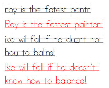 Daily Sentence Correction for Spelling, Punctuation, Grammar, Handwriting