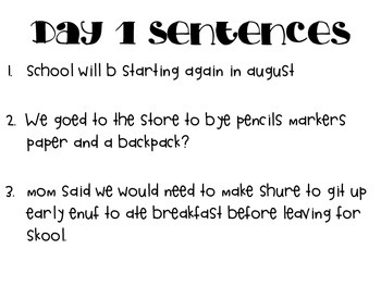 Daily Sentence Corrections 1 (20 day bundle)