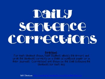 Daily Sentence Corrections 2 (20 day bundle)