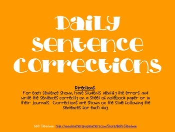 Daily Sentence Corrections 3 (20 day bundle)