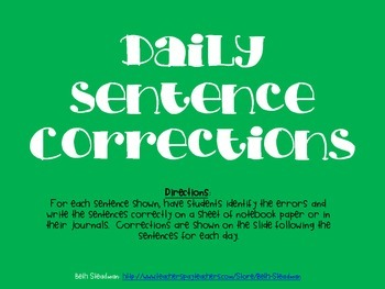 Daily Sentence Corrections 4 (20 day bundle)