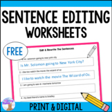 Daily Sentence Editing Worksheets (Distance Learning)