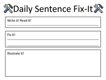 Daily Sentence Fix-It - Morning Work, Sentence