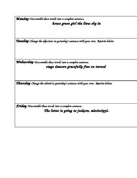 Daily Sentence Practice CCSS 2.L.1e,f,2a Part 2