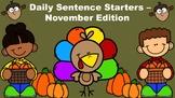 Daily Sentence Starters - November Edition