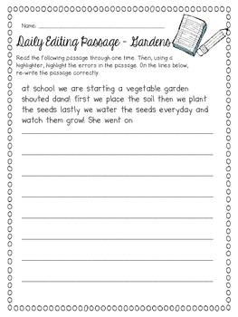 Daily Sentence/Paragraph Editing- Set 2
