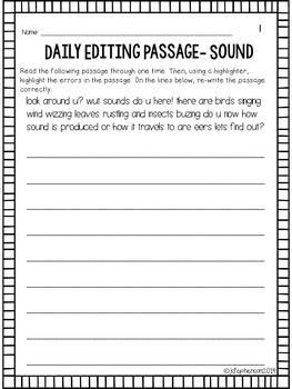 Daily Sentence/Paragraph Editing- Set 5
