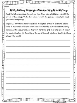Daily Sentence/Paragraph Editing- Set 7