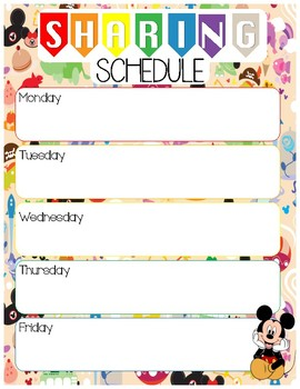 Daily Sharing Schedule for Morning Meetings