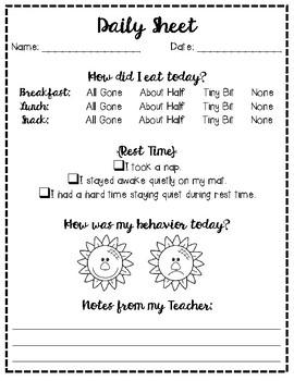Daily Sheet - Behavior Note (Parent-Teacher Communication) for Preschool & Pre-K