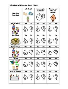 Daily Sheet for Behavior