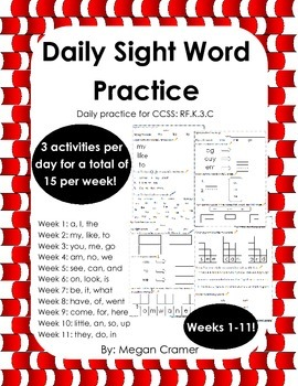 Daily Sight Word Practice: Weeks 1-11