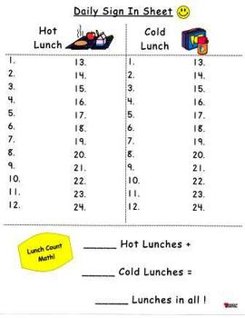 Daily Sign-In Attendance and Lunch Count Recording Sheets