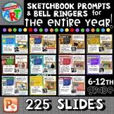 Art Sketchbook Prompts and Bell Ringers BUNDLE