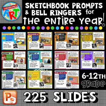 Art Sketchbook Prompts and Bell Ringers BUNDLE for the ENTIRE YEAR!