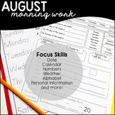 AUGUST- Daily Skills / Morning Work