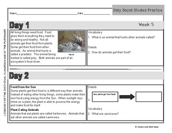 Daily Social Studies (Grade 3 Weeks 5 - 8)