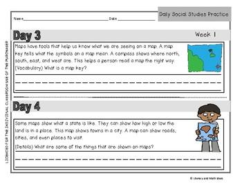 Daily Social Studies Practice (Grade 2:  Weeks 1-8)