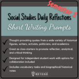 Social Studies Daily Reflections: Short Writing Prompts Se