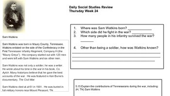 Daily Social Studies Review 5th Grade With New 2014 Standards