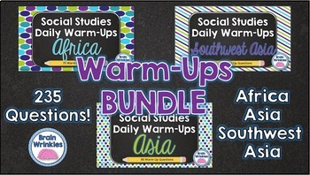 Daily Social Studies Warm-Ups BUNDLE -- Africa, Southwest Asia, and Asia