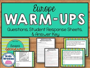 Daily Social Studies Warm-Ups (or Study Guide) -- Europe