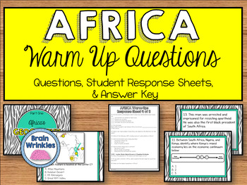 Daily Social Studies Warm-Ups (or Study Guide) -- Africa