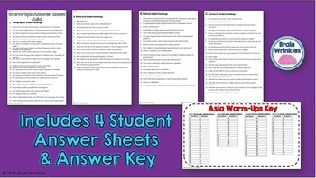 Daily Social Studies Warm-Ups (or Study Guide) -- Southern and Eastern Asia