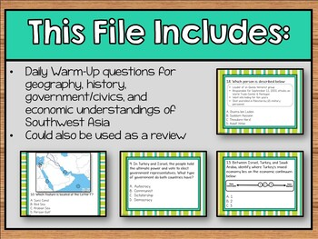 Daily Social Studies Warm-Ups (or Study Guide) -- Southwest Asia