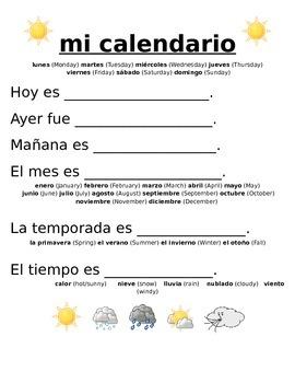 Daily Spanish Calendar/ mi calendario