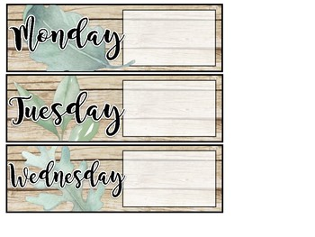 Daily Specials Schedule Display Cards