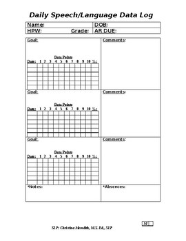 Daily Speech/Language Data Collection Form