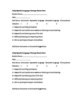 Daily Speech Therapy Note for Parents for Language