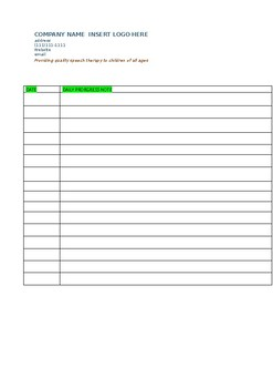Speech Therapy Daily Session Log