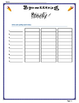 Daily Spelling Exercise Worksheet