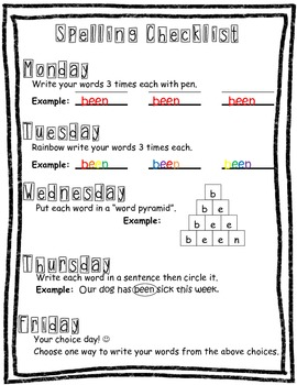 Daily Spelling Word Practice