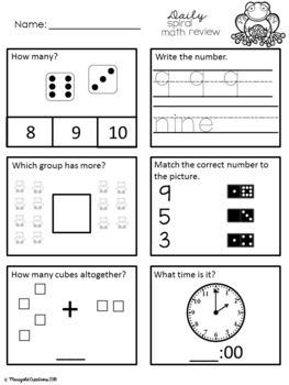 Number Sense 1-10/ Daily Spiral Math Review/ Morning Work/ Homework