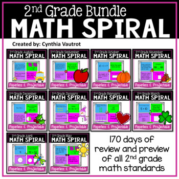 2nd Grade Daily Math Spiral (Bundle)