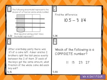 Daily Spiral Review Warm Up - 5th Grade TEKS (12 Weeks)